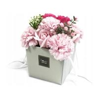 FLOWER BOX PACHNĄCY MYDLANY BUKIET KWIATOWY RÓŻOWY